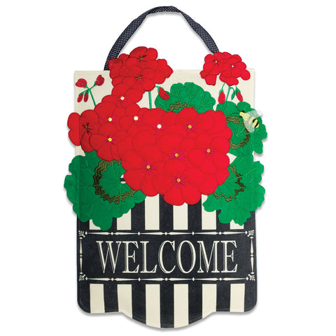 Geranium Welcome Door Hanger (NB)