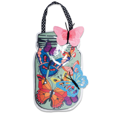 Mason Jar Butterflies Door Hanger (NB)
