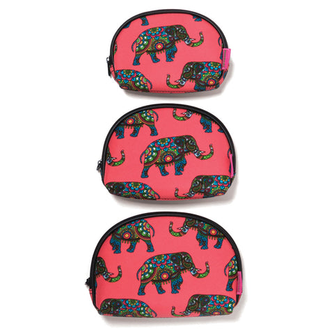 Coral Groovy Elephants Cosmetic Bags (NB)