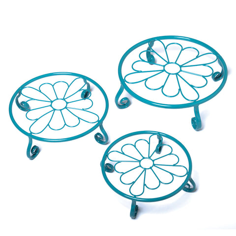 Aqua Flower Plant Stands, Set of 3