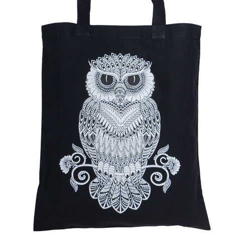 Mosaic Owl Black Cotton Tote (NB)