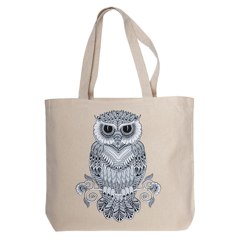 Mosaic Owl Unbleached Canvas Tote (NB)