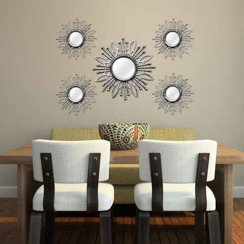 5 Piece Silver Burst Wall Mirror