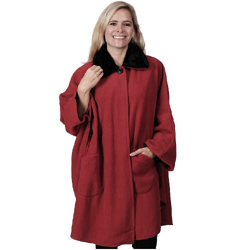 Solid Knit Fleece Wrap One Size Red at Linda Anderson