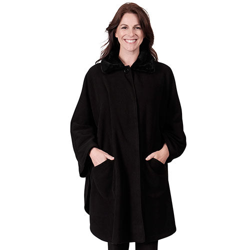 Le Moda Solid Knit Fleece Wrap One Size Black at Linda Anderson