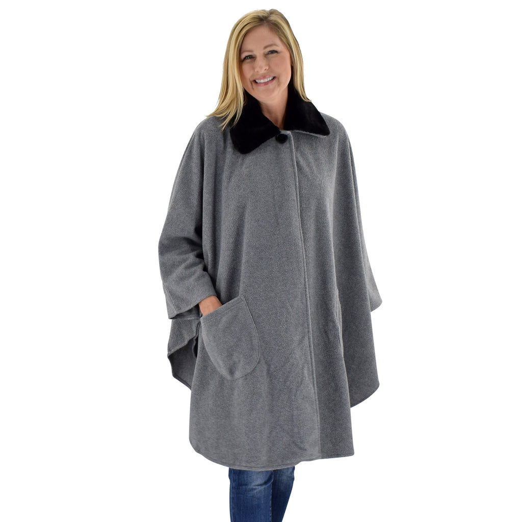 Solid Knit Fleece Wrap One Size Grey Hth at Linda Anderson