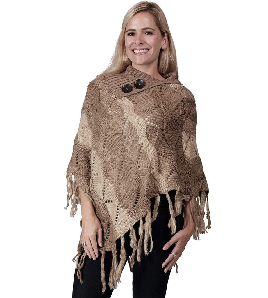 Ladies Fashion Ruana Knit Cape - FP60165-BB
