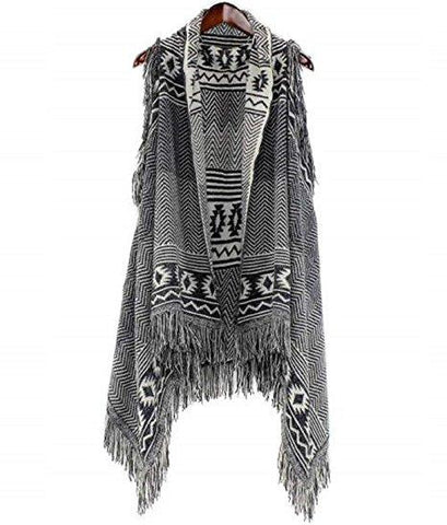Ladies Fashion Ruana Knit Cape - FP60446-BB