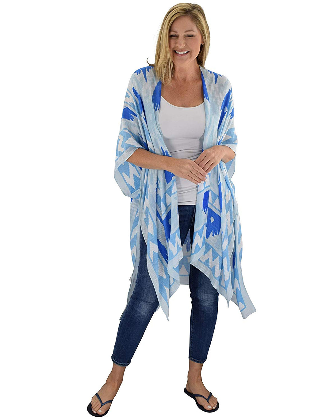 Le Moda Ladies Viscose Kimono - Blue at Linda Anderson