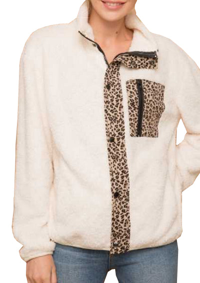 Fleece Jacket with Leopard Print at Linda Anderson