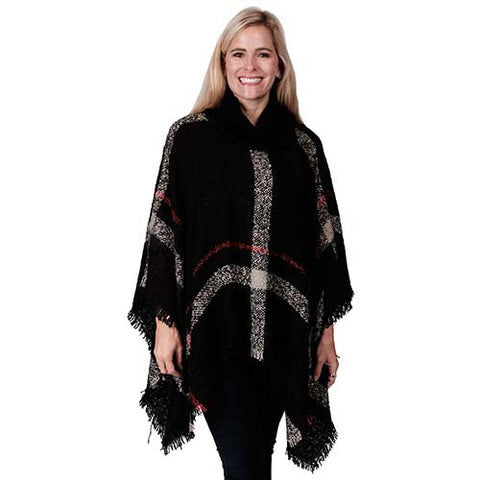 Ladies Fashion Ruana Knit Cape 7551- Black-Grey