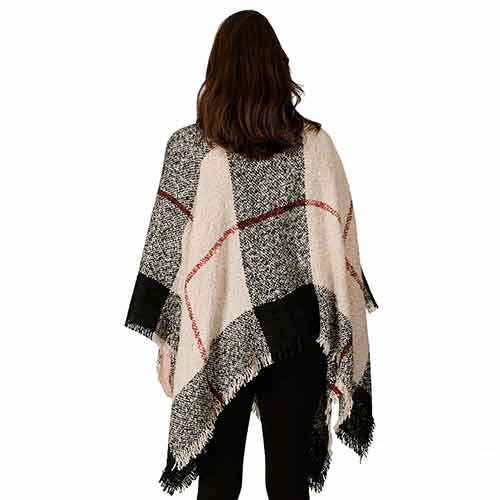 Ladies Fashion Ruana Knit Cape 7551- Navy/Cream at Linda Anderson