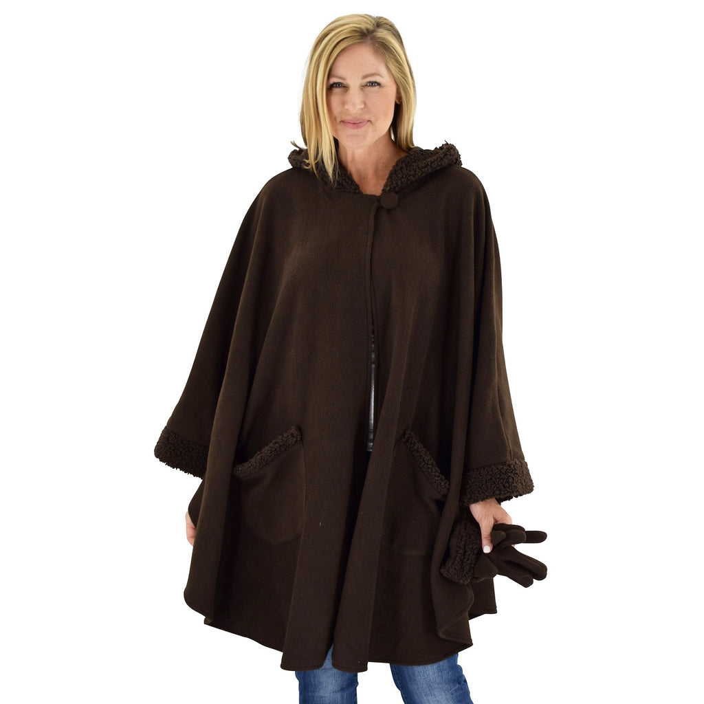 Le Moda Women's Hooded Tonal Sherpa Trimmed Wrap with Matching Gloves at Linda Anderson