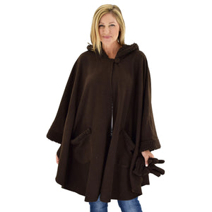 Le Moda Women's Hooded Tonal Sherpa Trimmed Wrap with Matching Gloves at Linda Anderson. color_chocolate