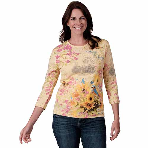 Womens Spring Sights Top- 100% Cotton Tee