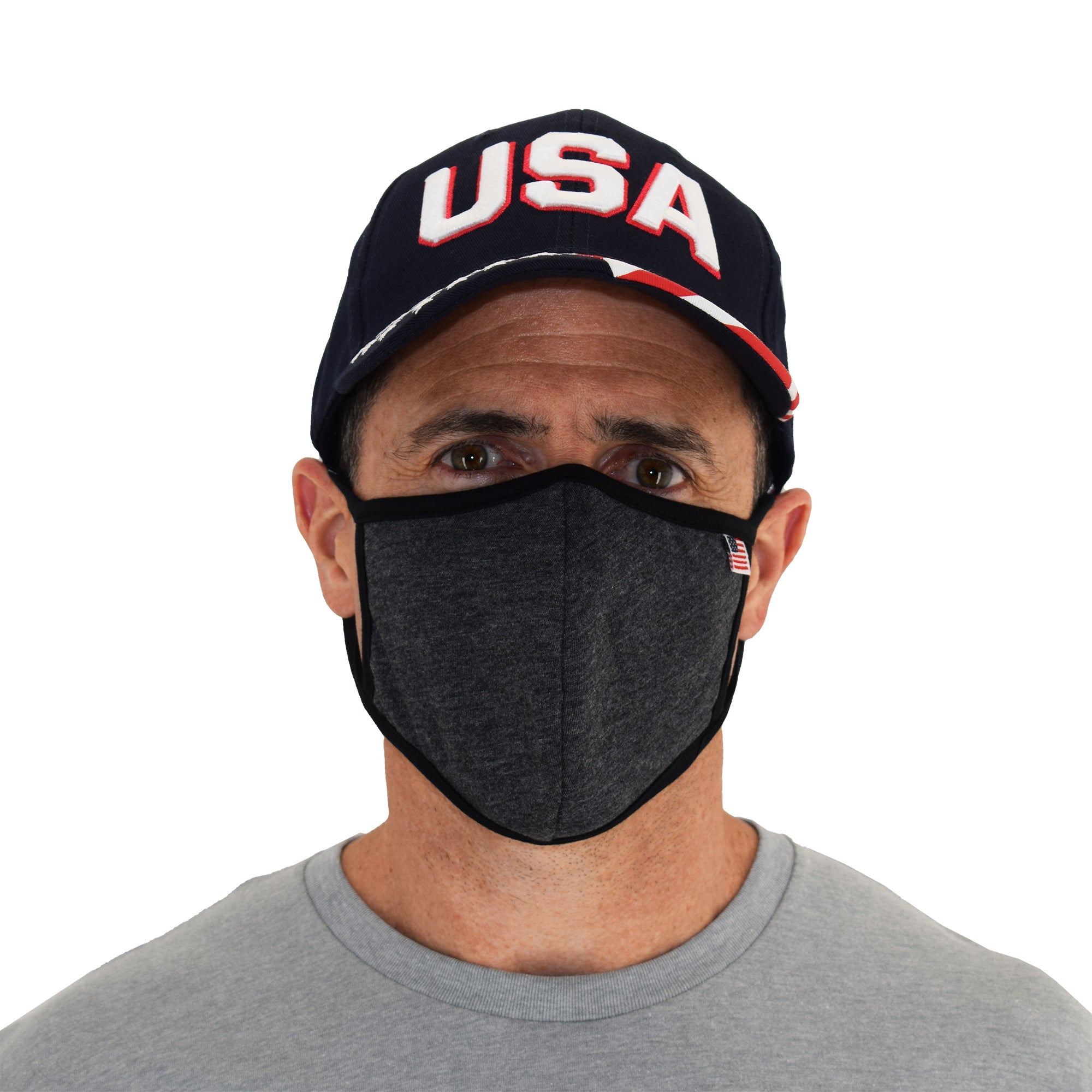 USA Flag Solid Face Mask Gray
