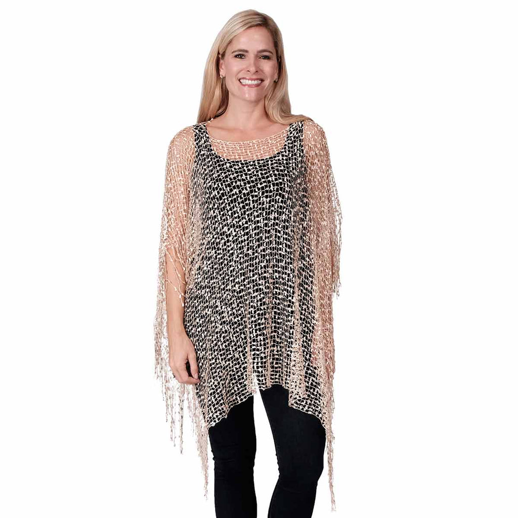 Wrap confetti poncho with Fringes