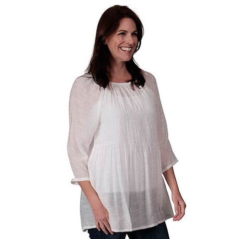 Smocked Raglan White Tunic