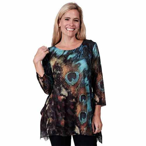 Lace Sleeve Printed Tunic