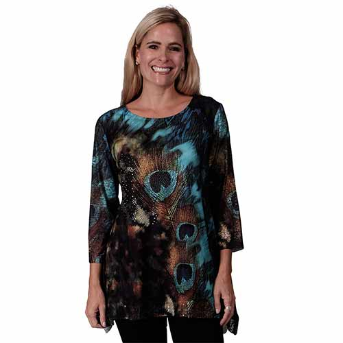 Lace Sleeve Printed Tunic at Linda Anderson