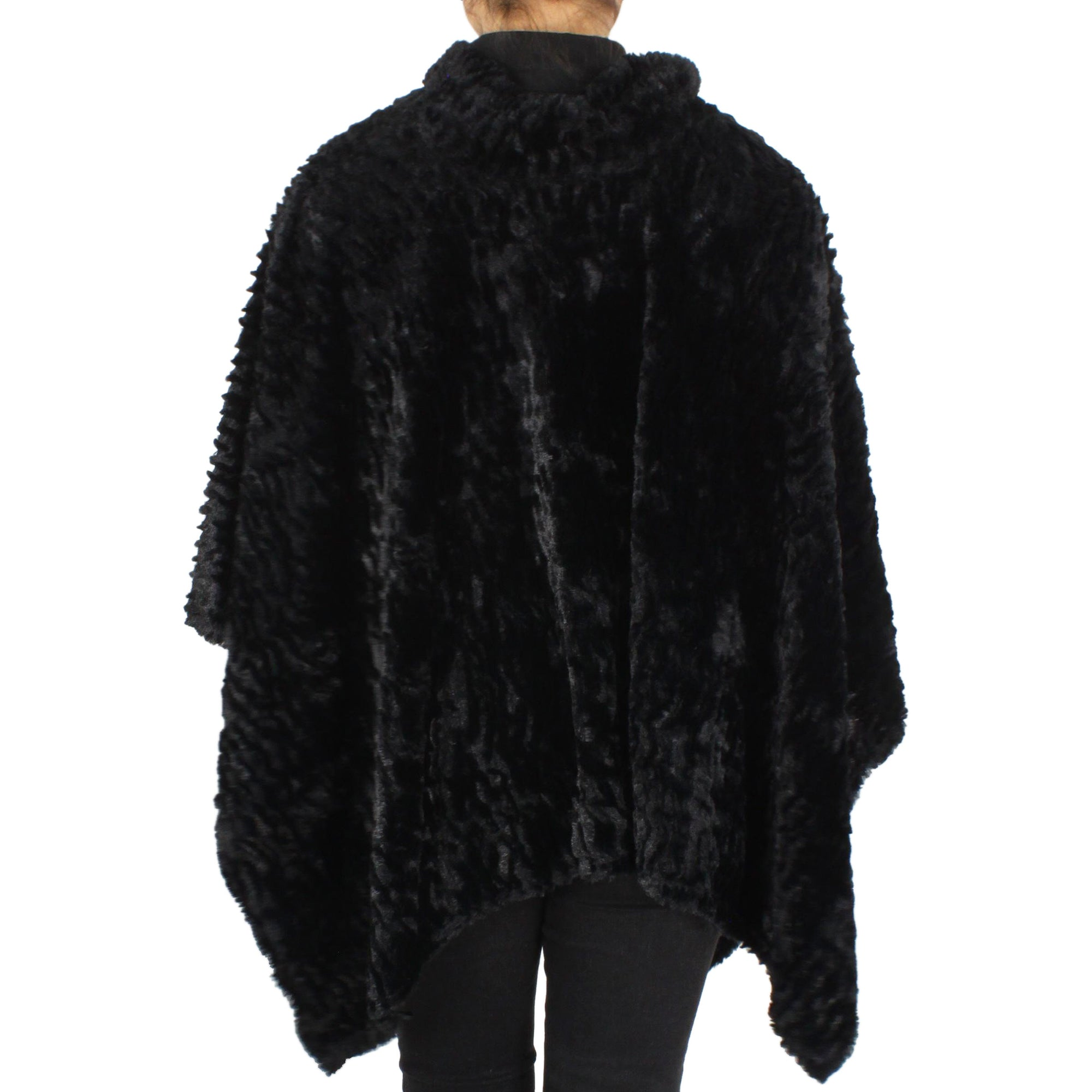 Womens Stripe Pattern Faux Fur Poncho at Linda Anderson. color_black