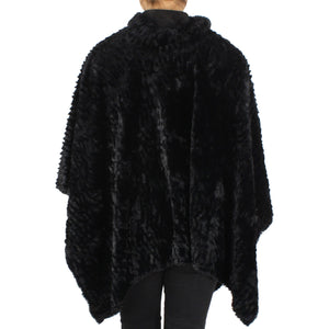 Fur Trim Faux Poncho 100% Polyester - Black