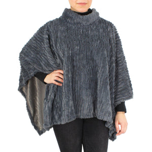 Womens Stripe Pattern Faux Fur Poncho at Linda Anderson. color_grey