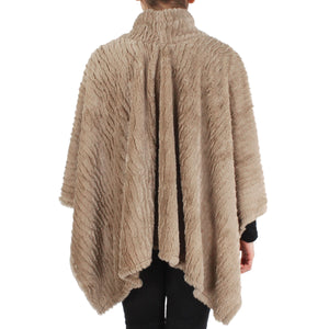 Womens Stripe Pattern Faux Fur Poncho at Linda Anderson. color_taupe