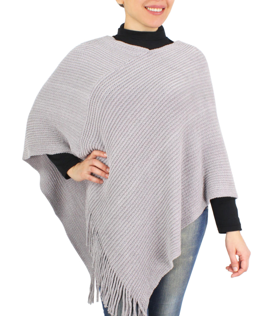 Womens Chenille Poncho with Tassel Hem
