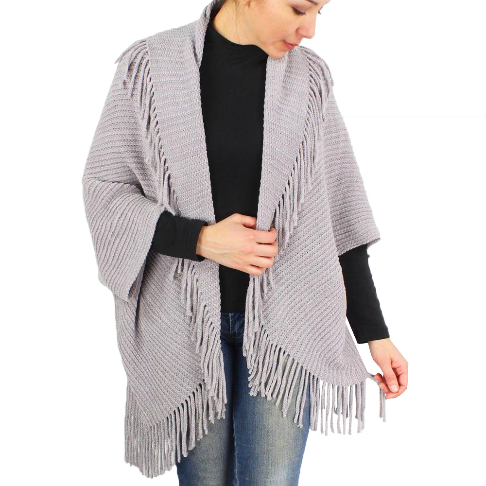 Womens Chenille Tassel Trim Vest Shrug