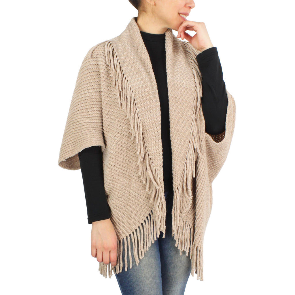 Womens Chenille Tassel Trim Vest Shrug at Linda Anderson. color_taupe