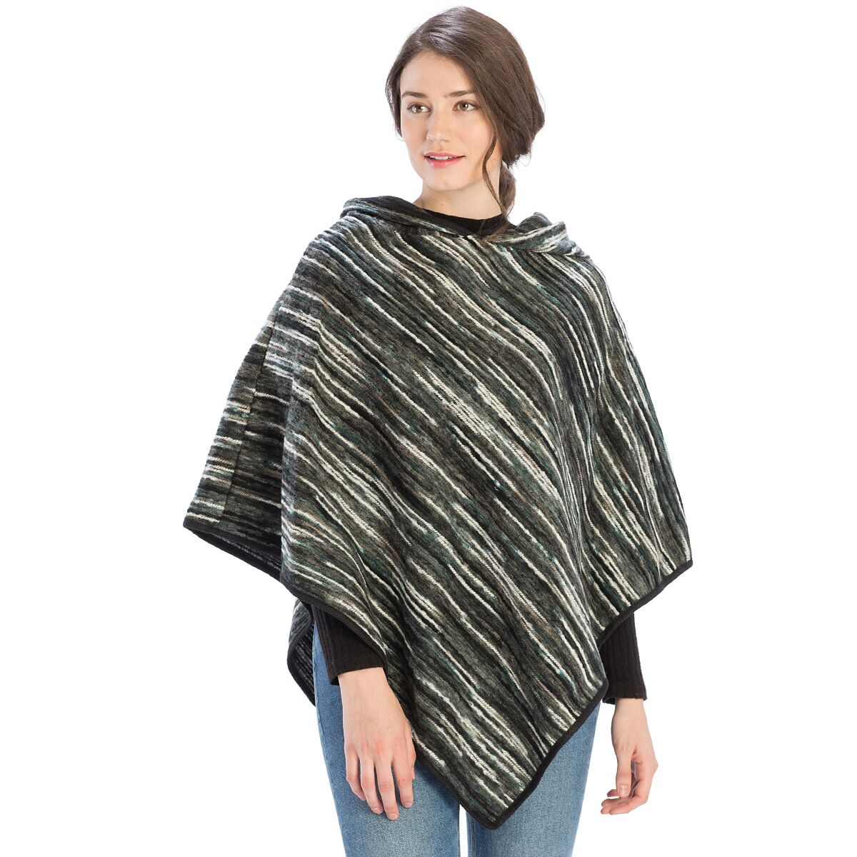 Le Moda Color Palette Hood Poncho - Black at Linda Anderson