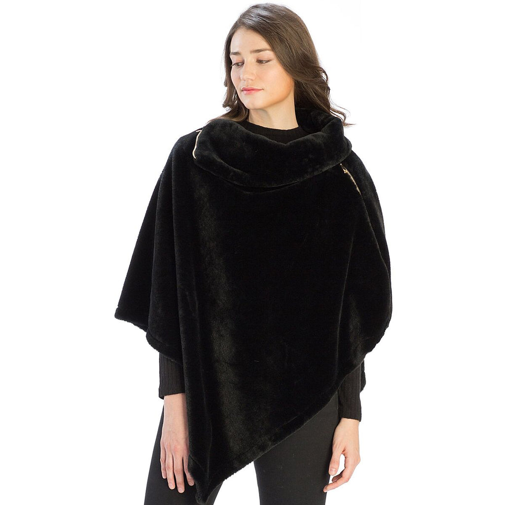 Le Moda Solid Fur Collar Poncho with Zipper