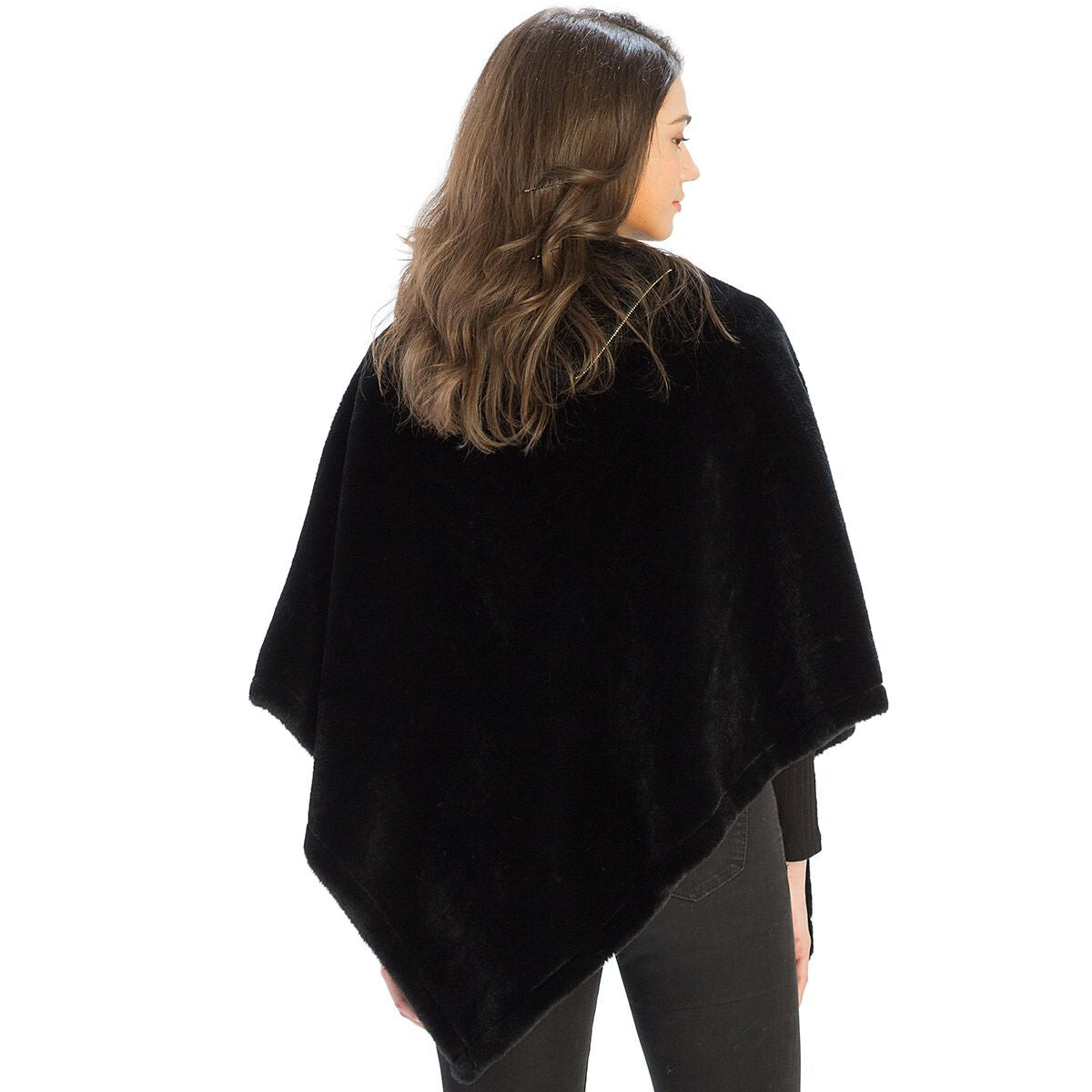 Le Moda Solid Fur Collar Poncho with Zipper at Linda Anderson