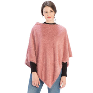 Le Moda Solid Textured Poncho at Linda Anderson