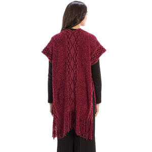 Le Moda Solid Knitted Kaftan Vest with Tassels at Linda Anderson