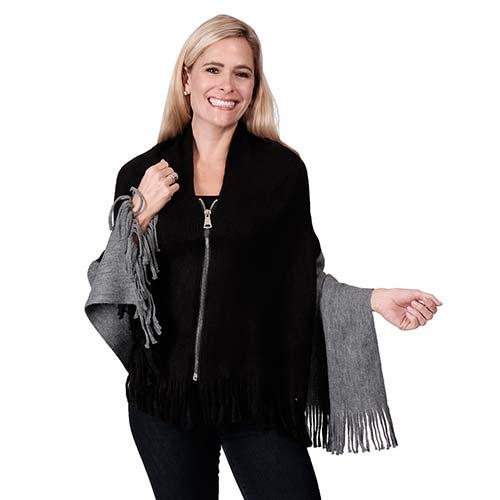 Two Tone Big Zipper Oblong Poncho-Scarf FOH7256-B/G at Linda Anderson