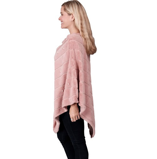 Ladies Fur Pearl Poncho  - Mauve at Linda Anderson