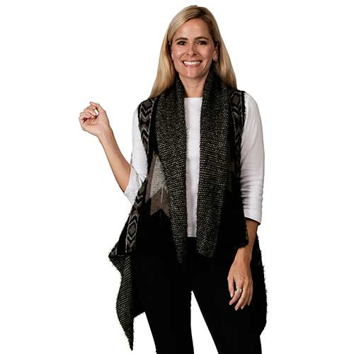 Black & Grey Blanket Pattern Ruana Knit Cape at Linda Anderson