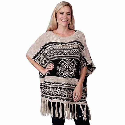 Ladies Fashion Ruana Knit Cape - FP60116-BB