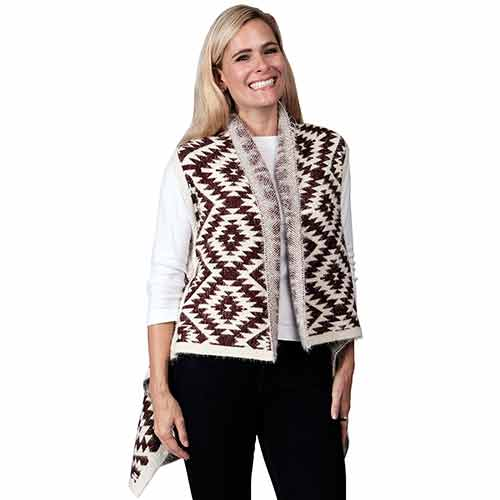 Ladies Fashion Ruana Knit Vest - FP60117- BB at Linda Anderson