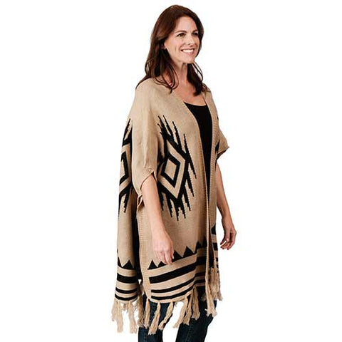 Ladies Fashion Ruana Knit Cape - FP60306-BB