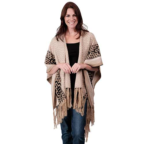 Ladies Fashion Ruana Knit Cape - FP60330-BB at Linda Anderson