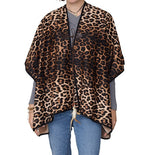 Load image into Gallery viewer, Womens Leopard Reversible Ruana at Linda Anderson
