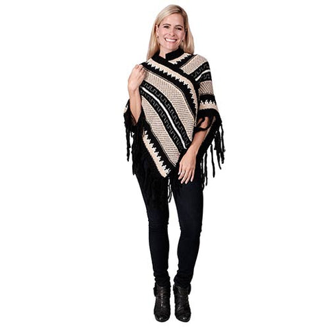 Ladies Fashion Ruana Knit Cape - FP60343-BB