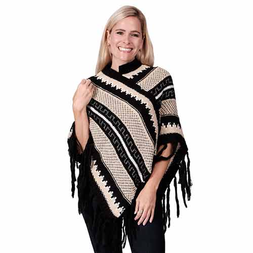 Ladies Fashion Ruana Knit Cape - FP60343-BB at Linda Anderson