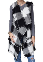 Load image into Gallery viewer, Women Foxy Plaid Open Vest with fringed at Linda Anderson