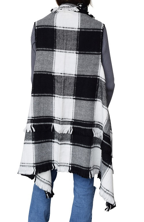 Women Foxy Plaid Open Vest with fringed at Linda Anderson