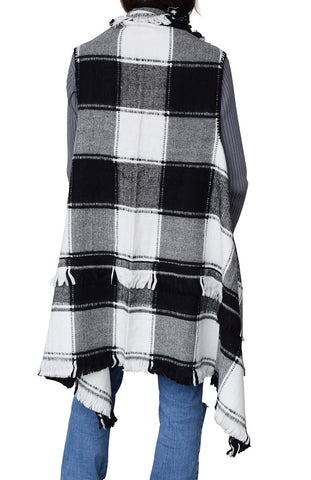 Women Foxy Plaid Open Vest with fringed