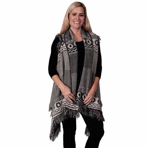Ladies Fashion Ruana Knit Cape - FP60446-BB at Linda Anderson